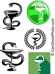 Medicine and pharmacy icons - Set of pharmacy icons with...
