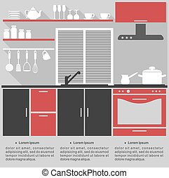 Flat infographic template for a kitchen interior design with...