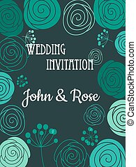 Green floral wedding invitation card
