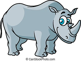 Cartoon grey rhino character with big funny eyes isolated on...