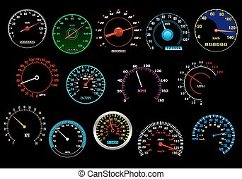 Various speedometers set - Various glowing speedometers set...