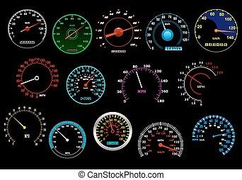 Various speedometers set - Various glowing speedometers set...