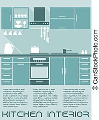 Kitchen flat interior design template in shades of blue with...