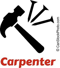 Hammer and nails icon - Carpentry icon with black hammer and...