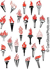 Flaming torches in vintage style for peace, sport, heraldic...