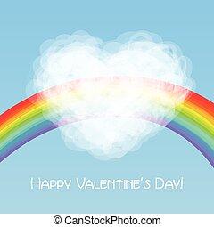 rainbow and cloud heart