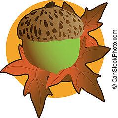 Acorn Graphic - An acorn and autumn leaves onan orange...