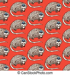 Sketch fancy opposum in vintage style, vector seamless...