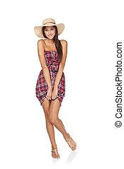 Full length summer woman portrait - Full length portrait of...