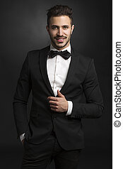 Latin man wearing a tuxedo - Portrait of a beautiful latin...