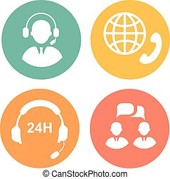 vector call center icons of operator and headset - vector...