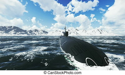 Russian submarine Borei. Close-up - Front close-up view of...