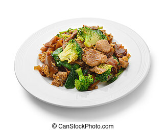 Fried noodles in a dish