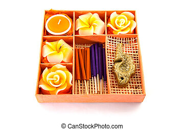 Spa Set Roses Shaped Candles, incense sticks in orange box...
