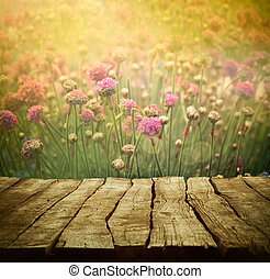 Flower background - Spring background with tabletop. Flowers...