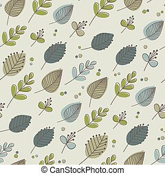 Leaves and flowers retro autumn tones - Seamless pattern of...