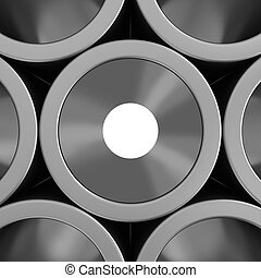 Stack of steel pipes background.