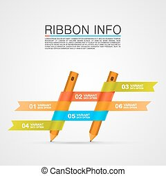 Ribbon with a pencil list of options