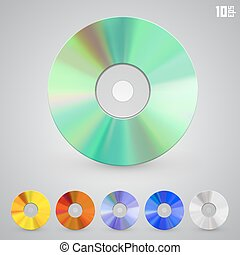 Cd disks of different colors art set. Vector Illustration