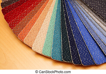 Samples of color a carpet covering in shop