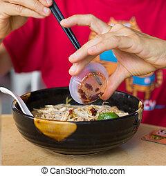 Laksa, Kuching - Laksa, traditional food in Kuching, Borneo,...