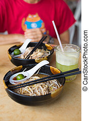 Laksa, Kuching - Laksa, traditional food in Kuching, Borneo,...