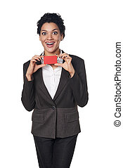 Business woman showing blank credit card - Happy surprised...