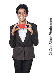 Business woman showing blank credit card - Happy alluring...