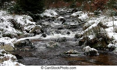 waterfall river Bode in Winter