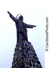 Statue- La Paz, Bolivia - Statue of Jesus Christ at pass of...