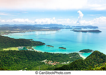 View of Langkawi island from observation deck. Malaysia.