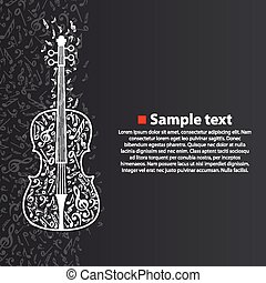 Vector violin with notes