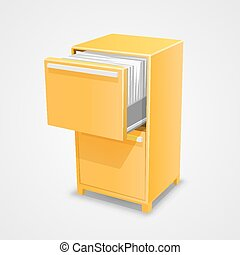 Closet safe with documents art. Vector Illustration