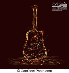 Silhouette of guitar fire art. Vector illustration