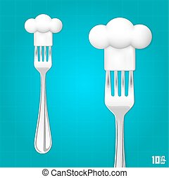Fork with chef hat art. Vector illustration
