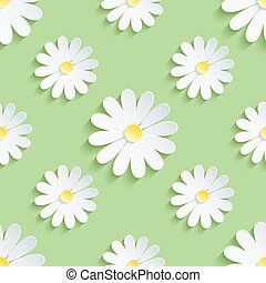 Spring green background seamless pattern with chamomile