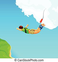 Bungee jumping - Free fall from the sky on bungee rope