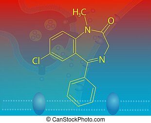 Diazepam molecular structure - Illustration that shows the...