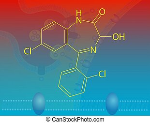 Lorazepam molecular structure - Illustration that shows the...