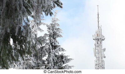 Snowy derrick - In snowy forest tower mobile operator