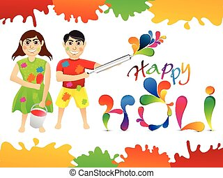 abstract colorful holi cartoon play