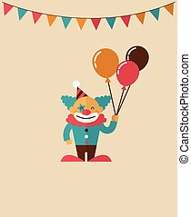 vintage poster with clown, carnival, fun fair, circus vector background