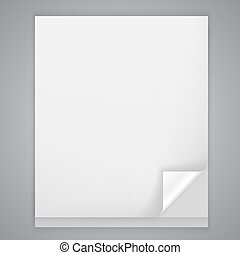 Sheet of paper with a bent corner