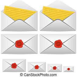 Open letter and enclosed with a seal. Vector illustration