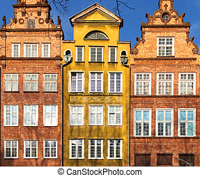 Colorful houses - tenements in old town Gdansk, Poland