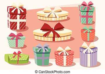 Collection of colorful gift boxes with bows and ribbons in...