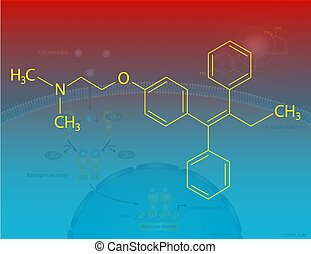 Tamoxifen molecular structure - Illustration of the...