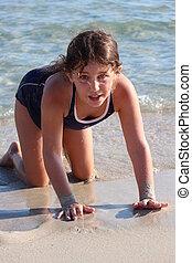 Girl Playing with Waves, Cyprus - Animated girl playing on...