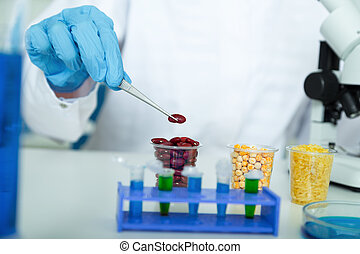 laboratory assistant in the laboratory of food quality.
