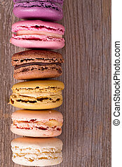 Macaroons over old wood
